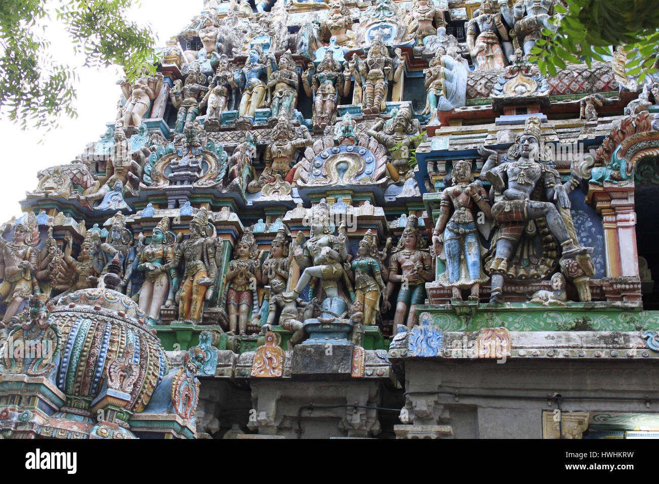 Side view, close up of the colorful gopuram of Vaitheeswaran temple, Tamil Nadu, India Stock Photo