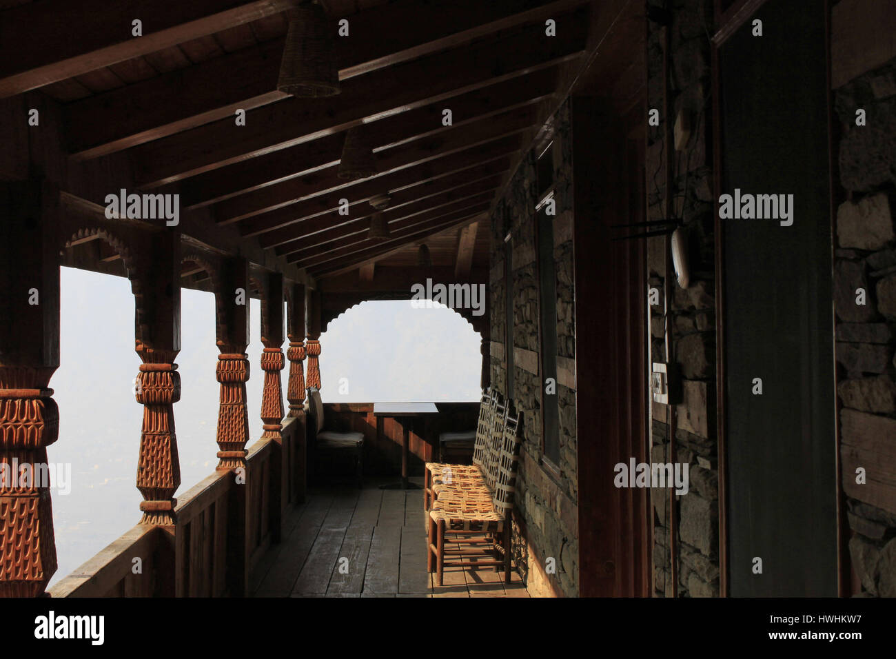 Corridor inside Naggar castle, Kulu Manali, Himachal Pradesh, India - Stock Image