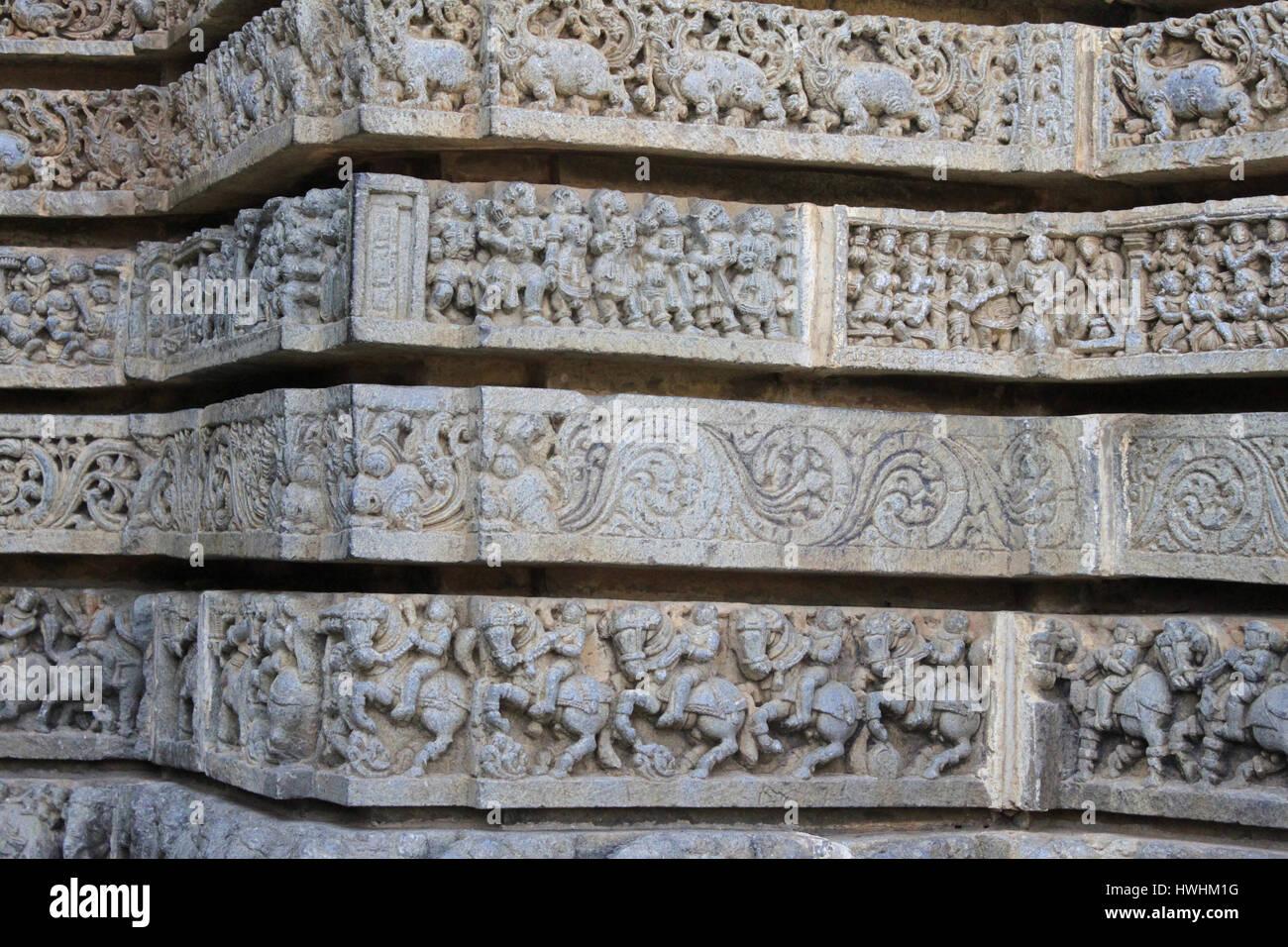 Panel of Hindu deities in frieze and their attendants. Chennakesava Temple, Hoysala Architecture, Somanathpur, Karnataka, - Stock Image