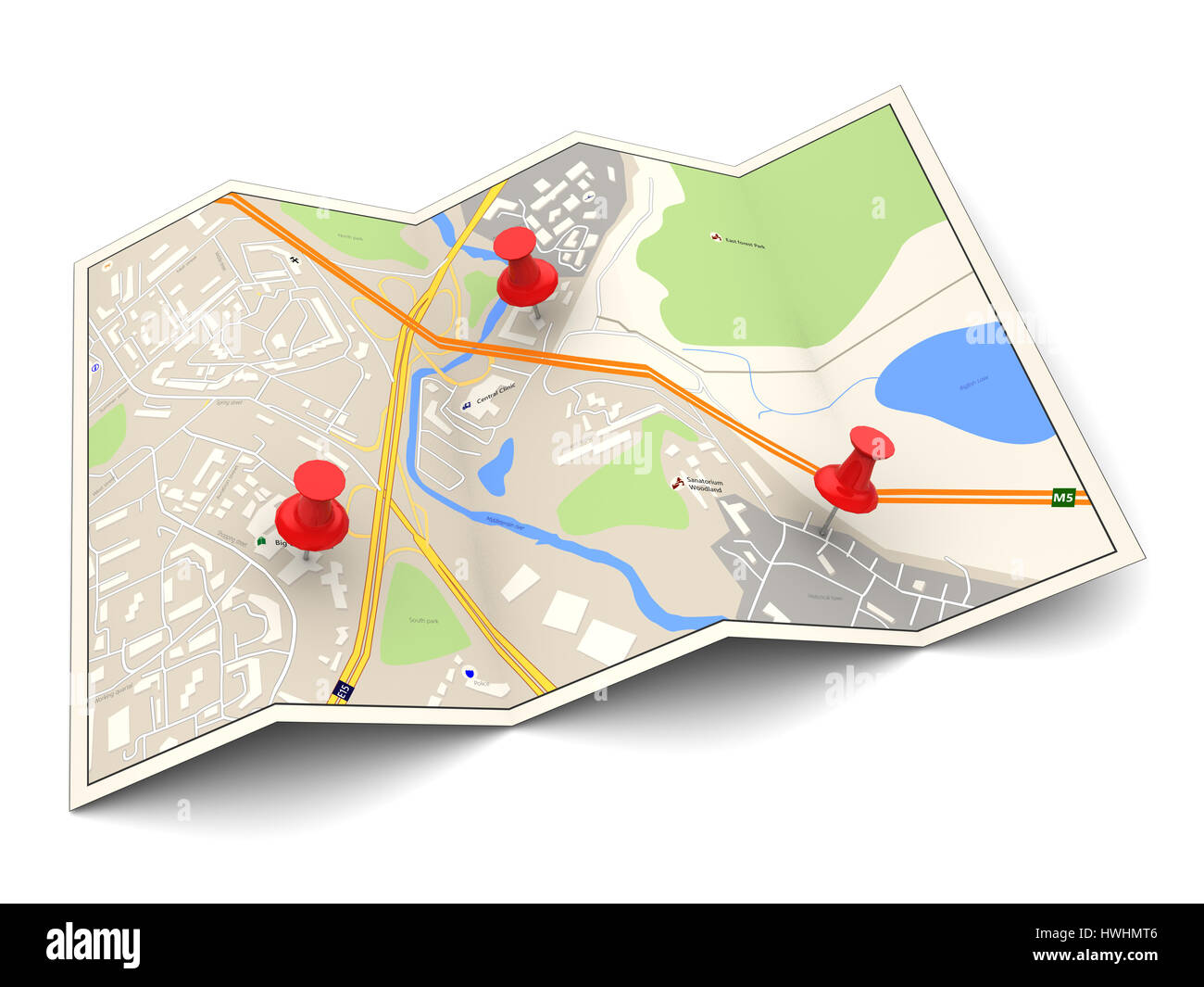 3d illustration of city map with three red pins - Stock Image