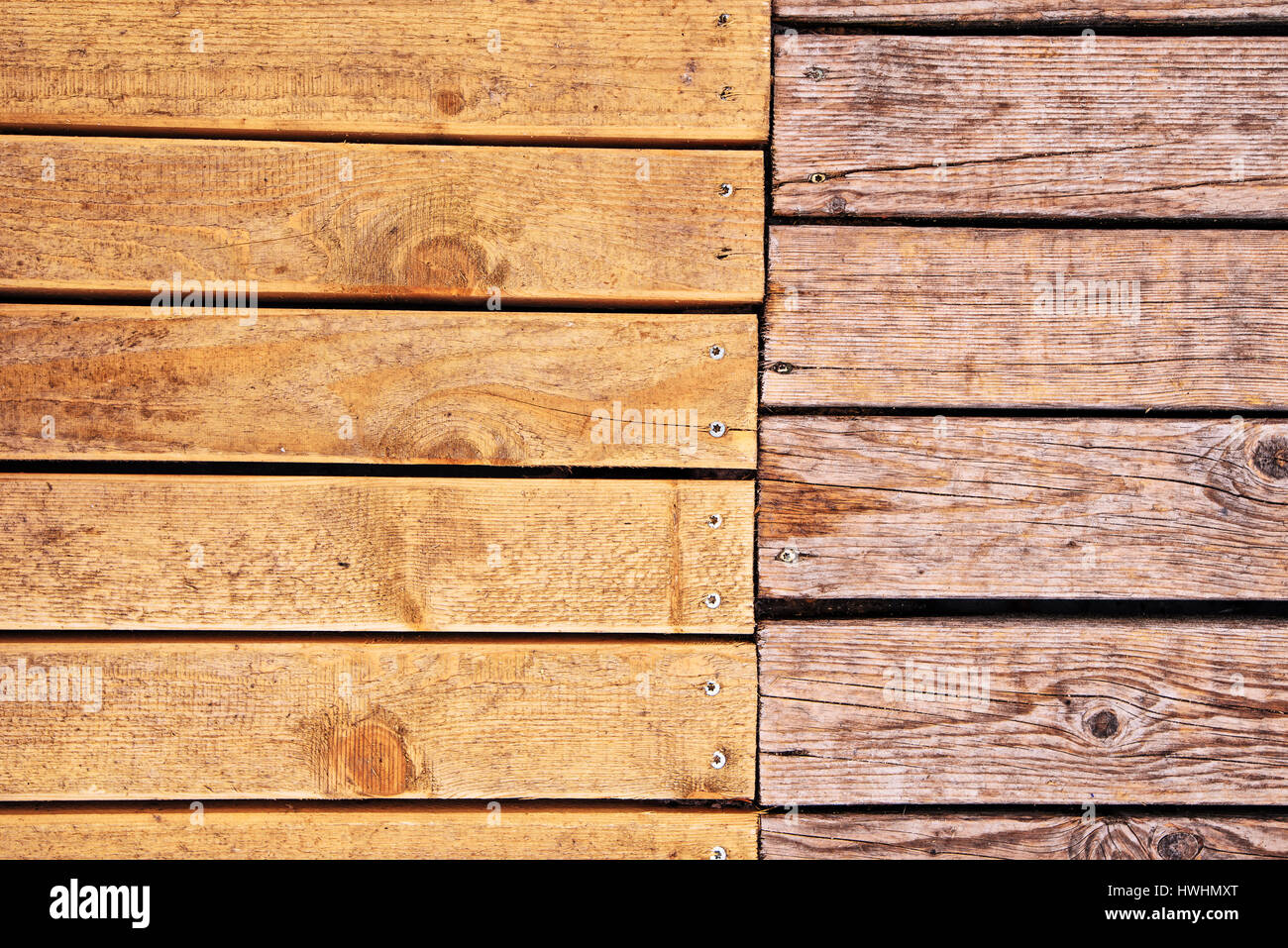Weathered outdoor patio wooden flooring texture, hardwood planks background - Stock Image