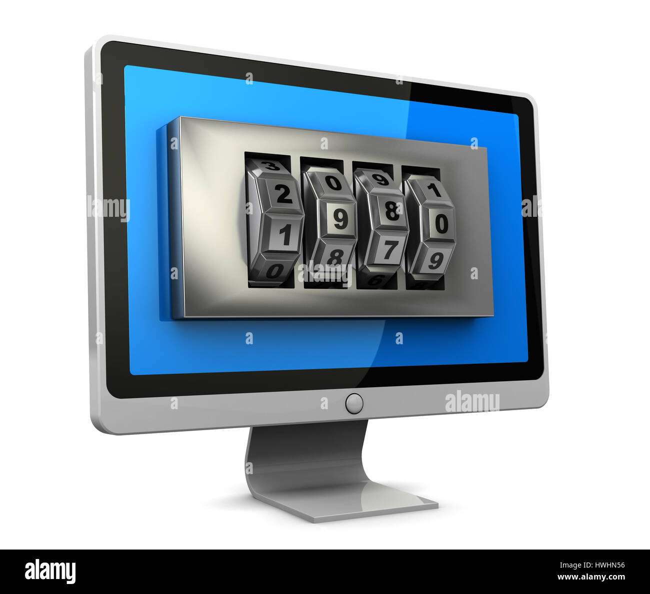 3d illustration of computer monitor with combination lock in screen - Stock Image