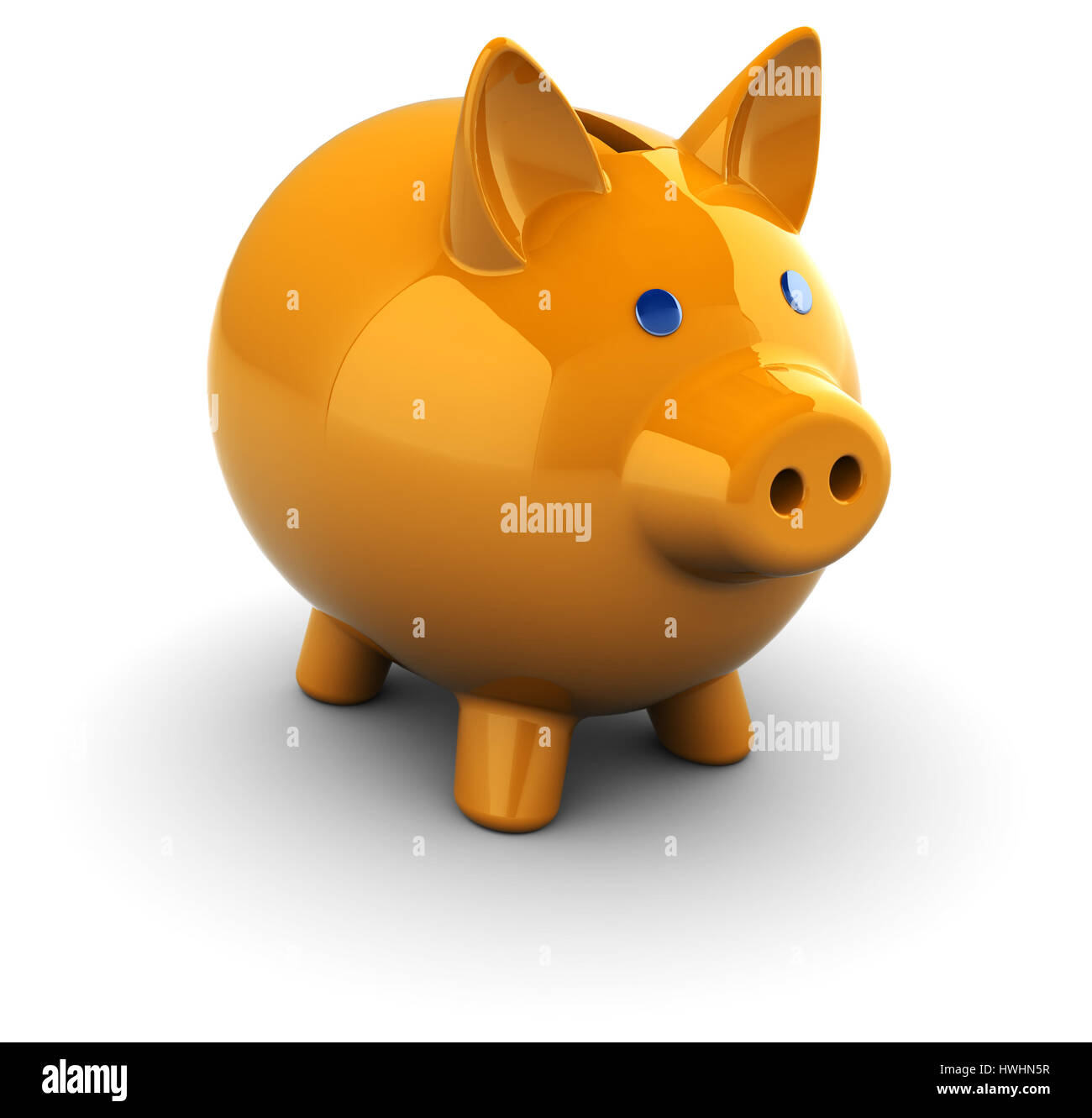 3d illustration of ornage piggy bank over white background - Stock Image