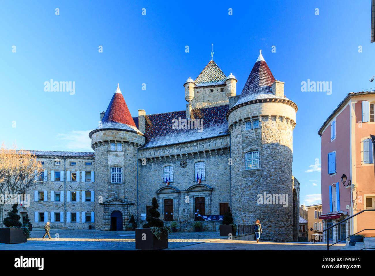 / France, Ardeche, Aubenas, the castle in winter - Stock Image