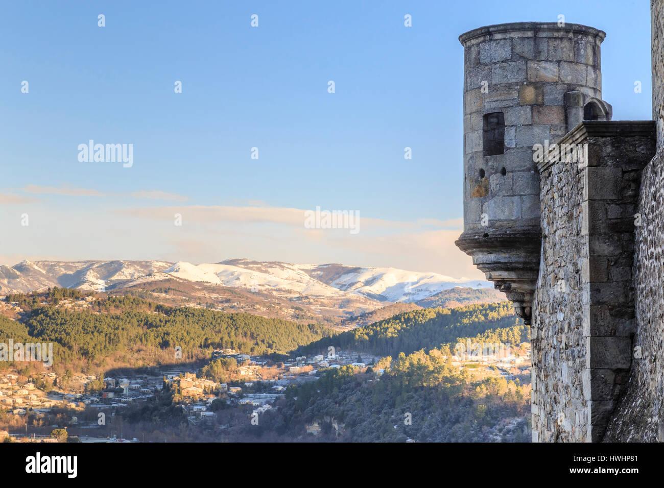 France, Ardeche, Aubenas, bartizan of the castle - Stock Image