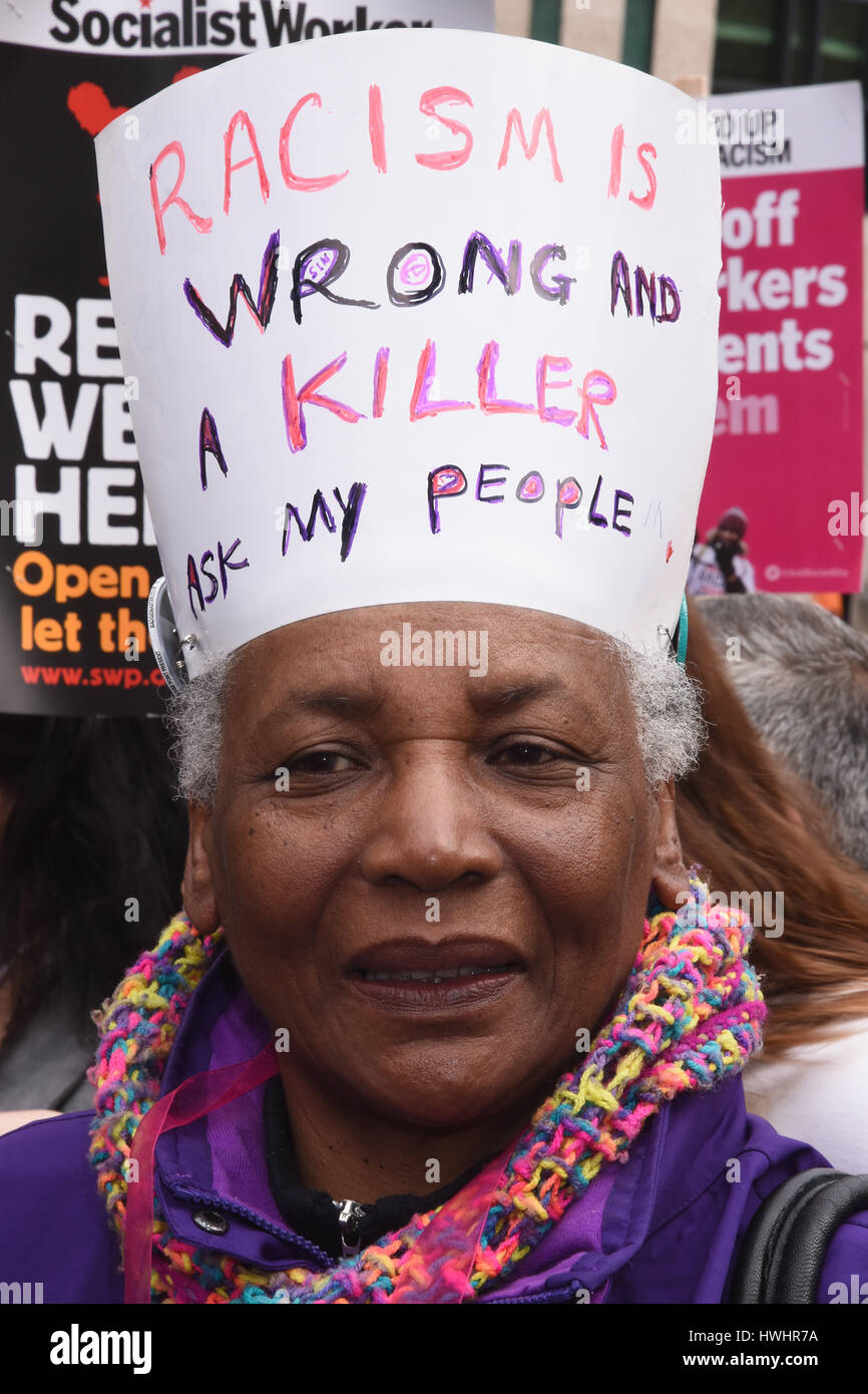 Protester,'Stand Up To Racism', National Demonstration,Portland Place,London.UK - Stock Image