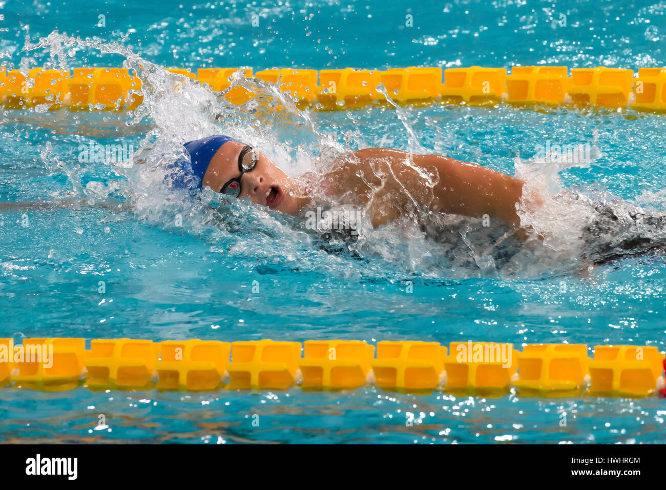 MILAN, ITALY - March 10, 2017: female swimmer during 7th Trofeo citta di Milano swimming competition. - Stock Image