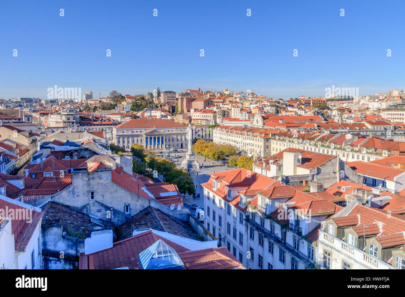 View of central part of Lisbon - Stock Image