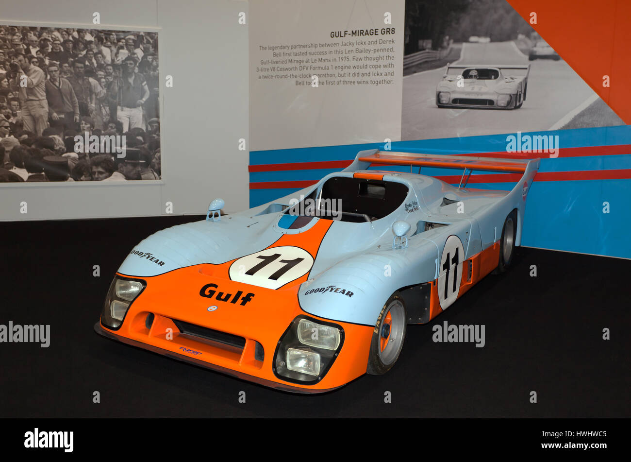 The Gulf-Mirage GR8 driven by Jacky Icks and Derek Bell, to victory in the 24hrs of Le Mans in 1975 - Stock Image
