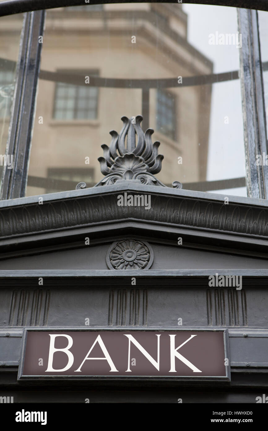 Sign On Exterior Of Bank Building - Stock Image