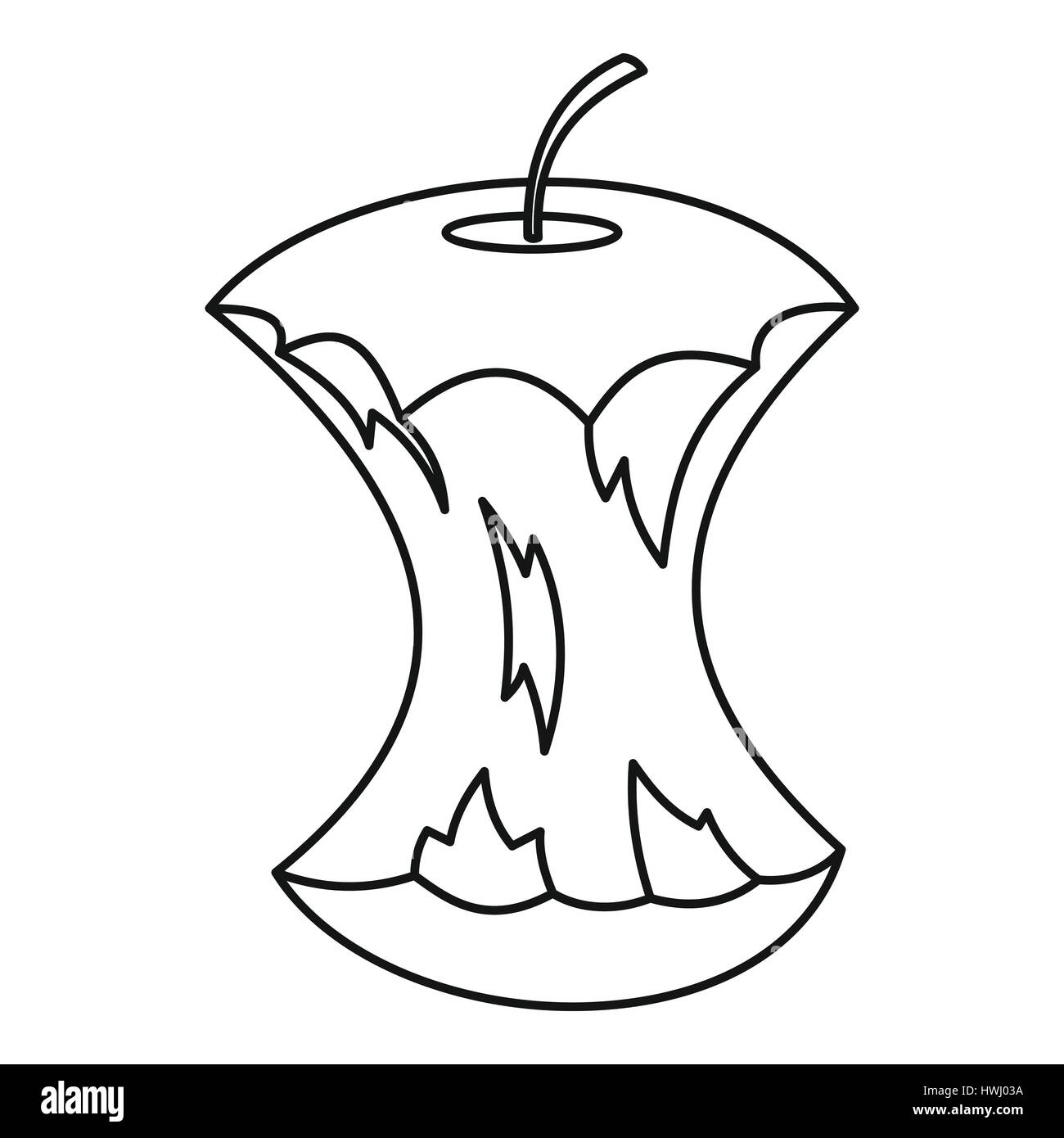 Apple core icon, outline style - Stock Image