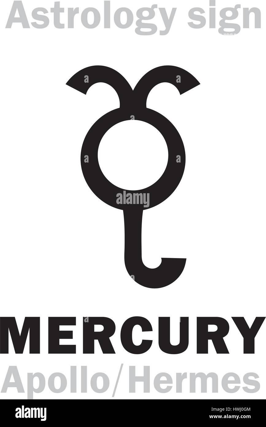 Astrology Alphabet: MERCURY (Stilbon), the planetary star (planet). Hieroglyphics character sign (ancient greek - Stock Vector
