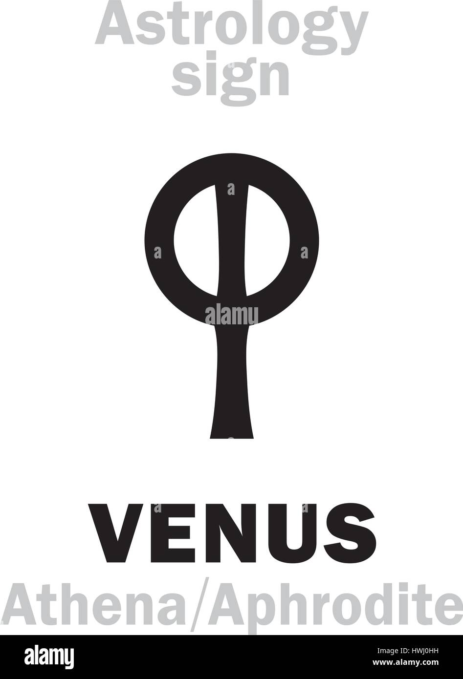 Astrology Alphabet: VENUS (Aphrodite), the planetary star (planet). Hieroglyphics character sign (ancient greek - Stock Image