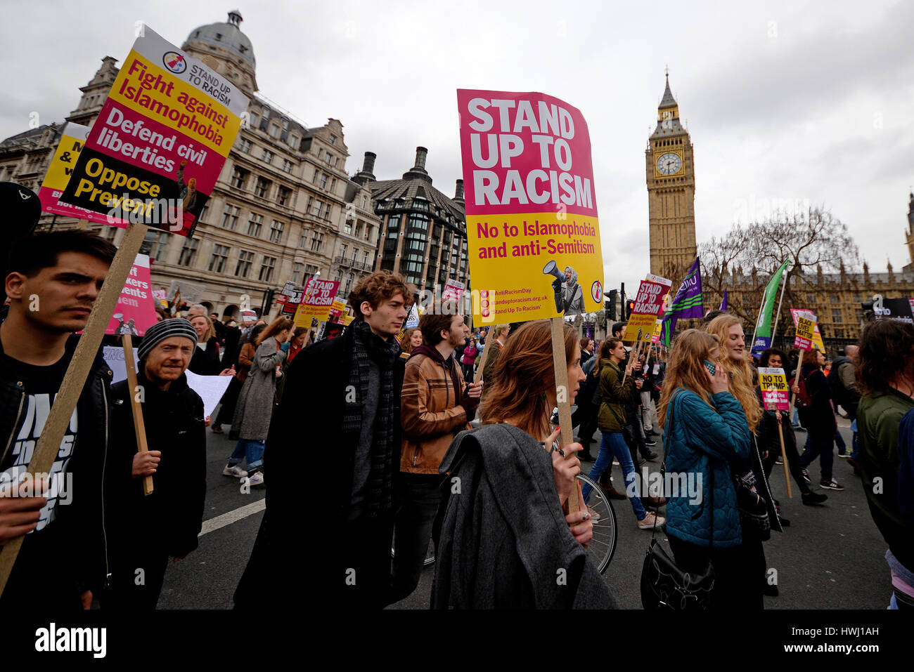 Stand up to racism. A demonstration took place in London on United Nations Anti Racism Day ending in Parliament - Stock Image