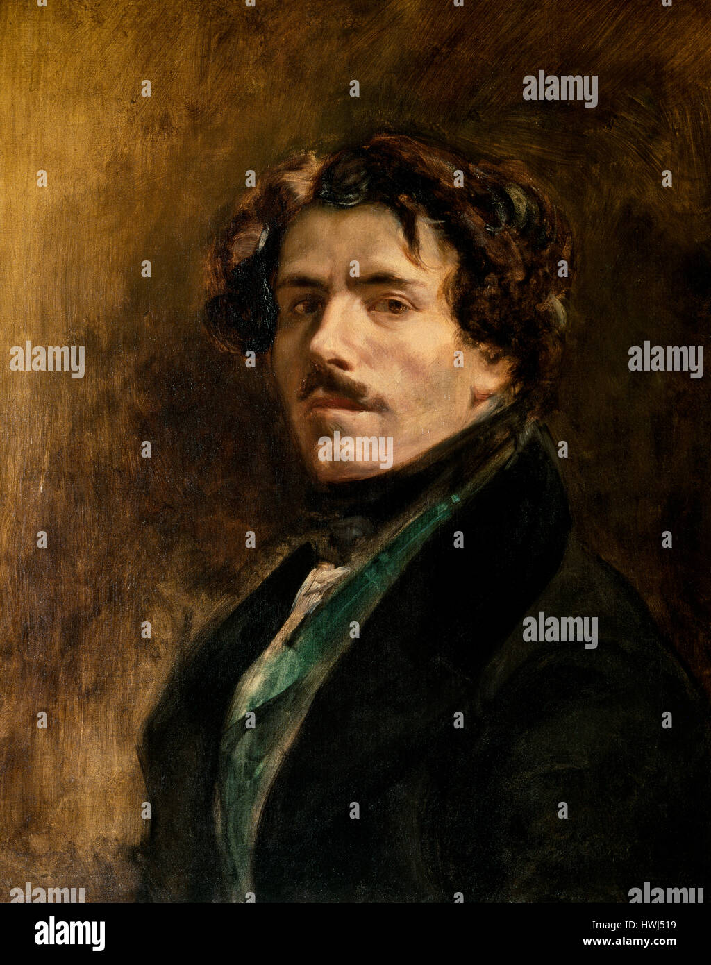 Eugene Delacroix (1798-1863). French romantic artist. Self-portrait, 1837. Louvre Museum. Paris. France. Stock Photo