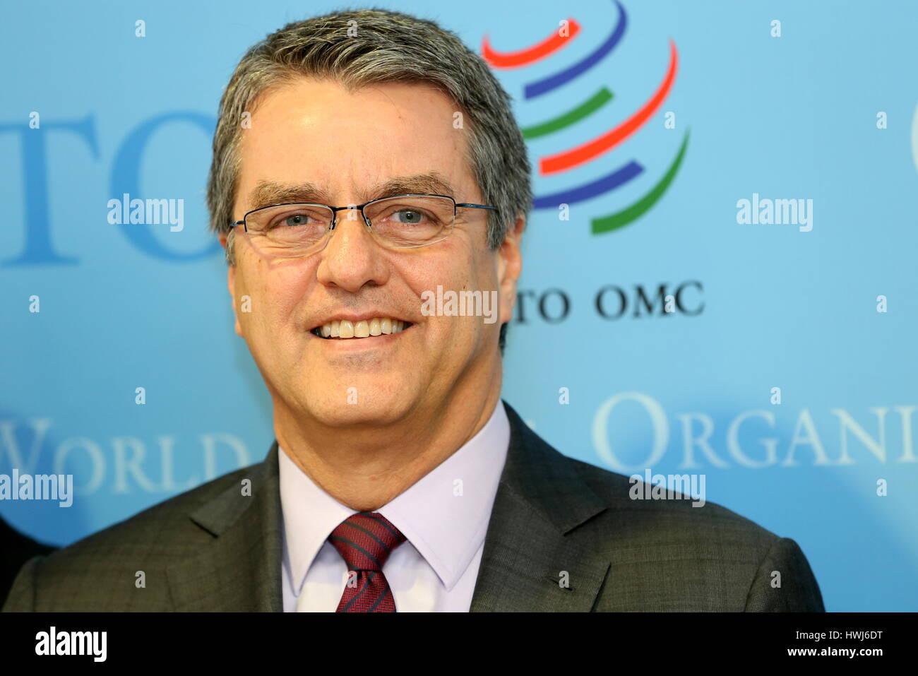 Brazilian Roberto Azevêdo on 22 Feb. 2017 when the World Trade Organization's Trade Facilitation Agreement (TFA) Stock Photo