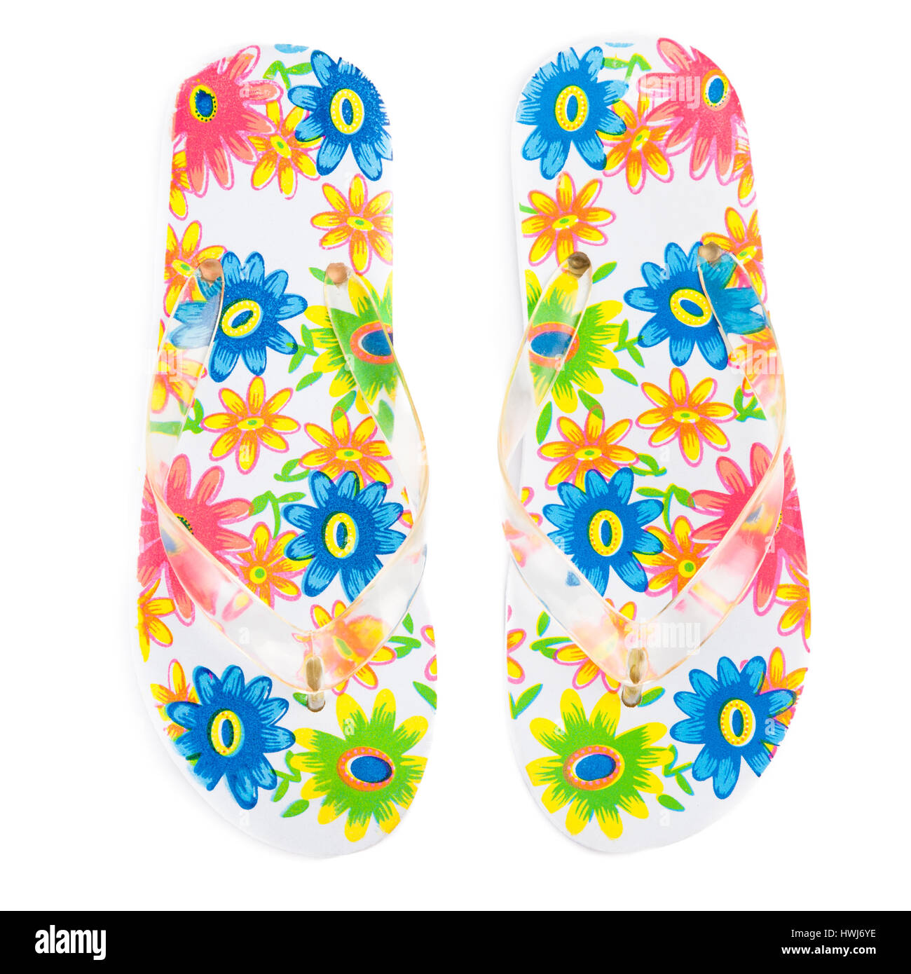 8cccb260362b5 colorful flip-flops with flowers isolated on white background - Stock Image