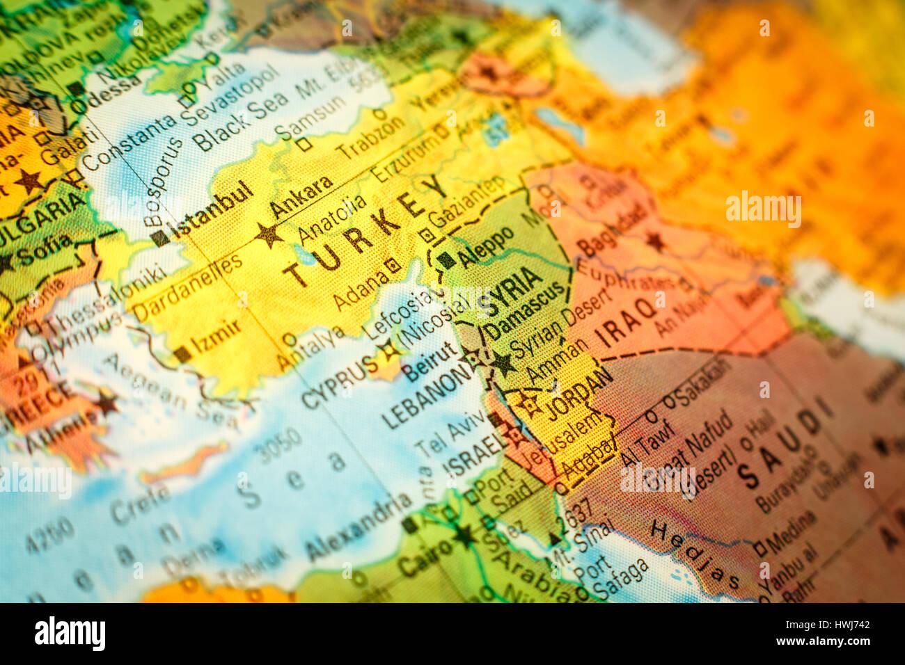 closeup macro image of map Syria Jordan and Turkey .Selective focus ...
