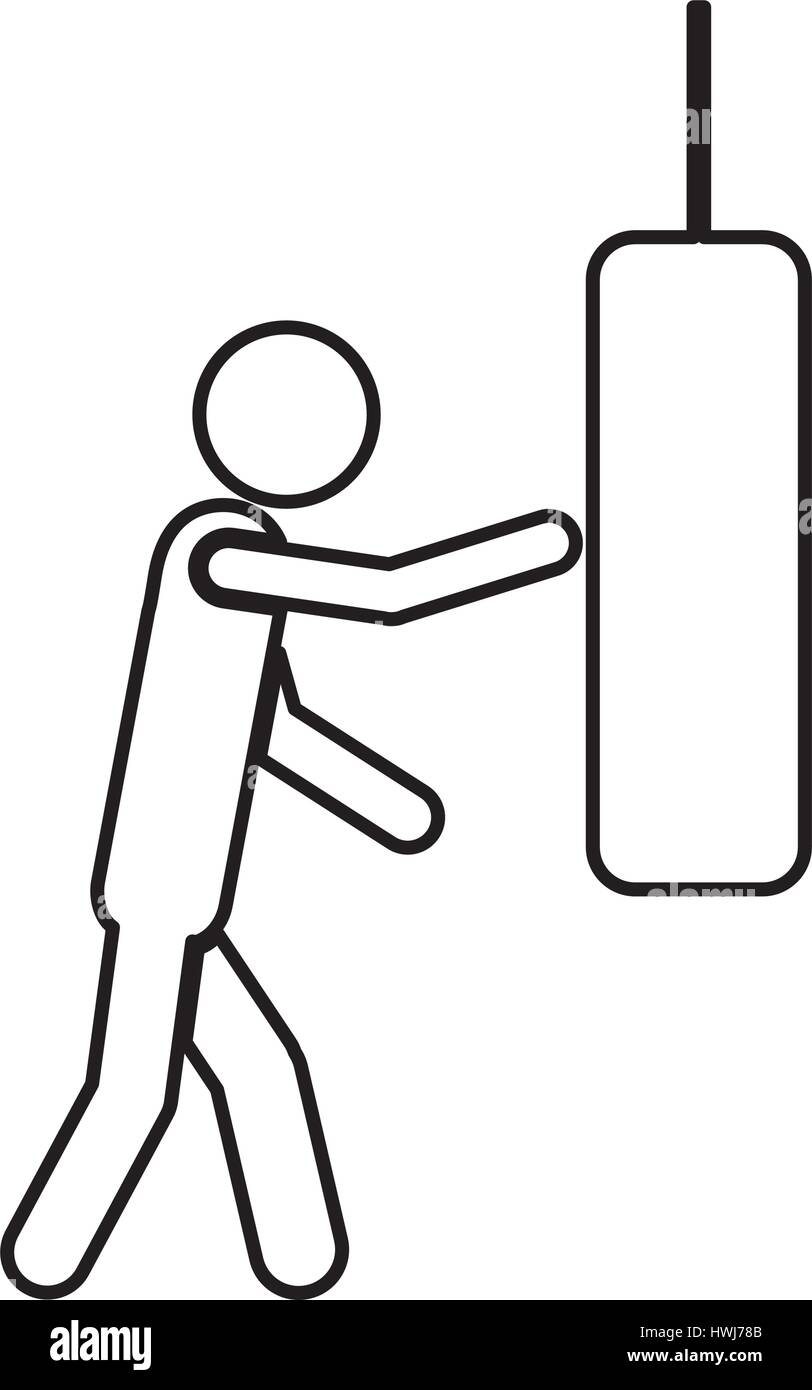 person knocking punching bag - Stock Vector