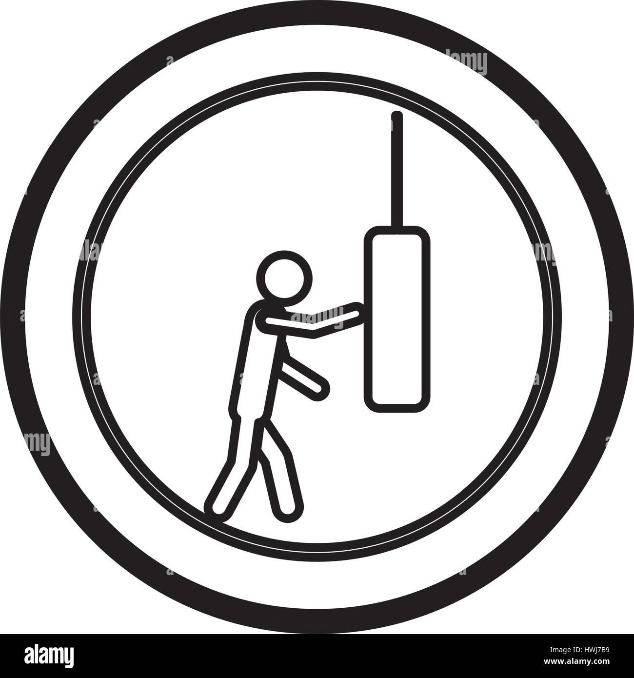 symbol person knocking punching bag - Stock Vector