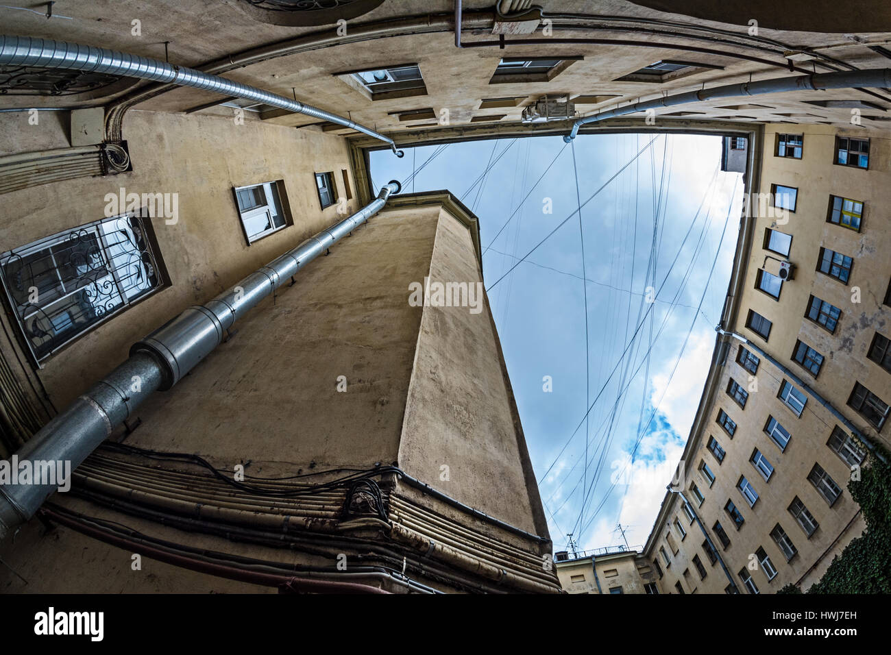 ST. PETERSBURG, RUSSIA - JULY 13, 2016: Yard-well kind of bottom-up, typical architecture of old St. Petersburg, - Stock Image