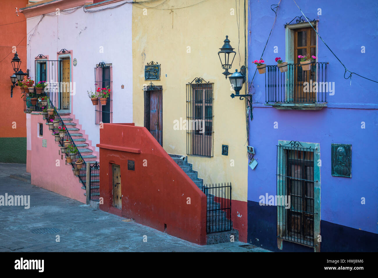 Beautiful staircases at homes in Guanajuato, Mexico ------ Guanajuato is a city and municipality in central Mexico - Stock Image