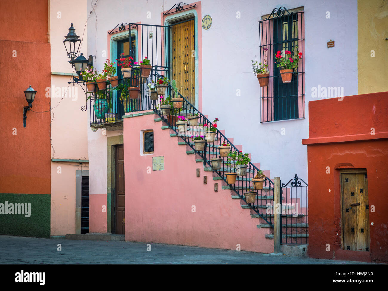 Beautiful staircase at home in Guanajuato, Mexico ------ Guanajuato is a city and municipality in central Mexico - Stock Image