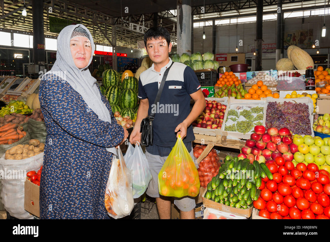 People buying vegetables, Samal Bazar, Shymkent, South Region, Kazakhstan, Central Asia, For editorial use only - Stock Image