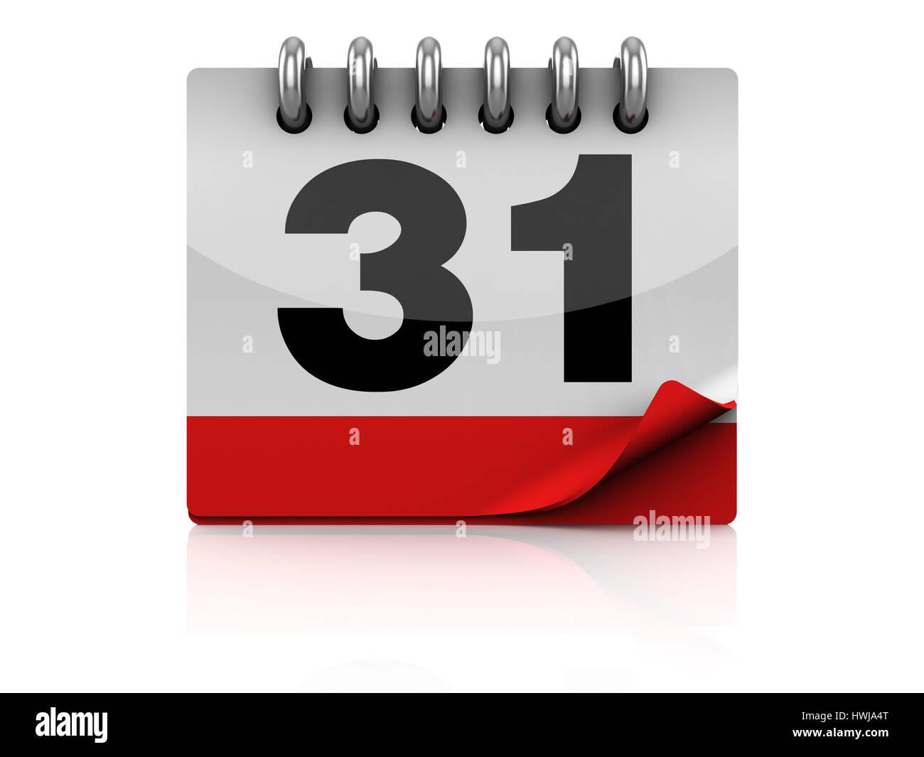 3d illustration of calendar symbol or icon, over white background - Stock Image