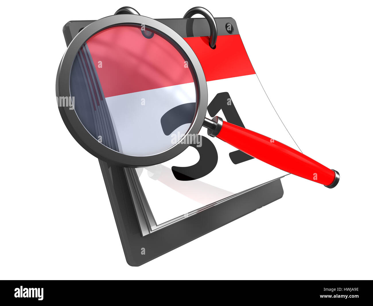3d illustration of calendar with magnify glass, isolated over white - Stock Image
