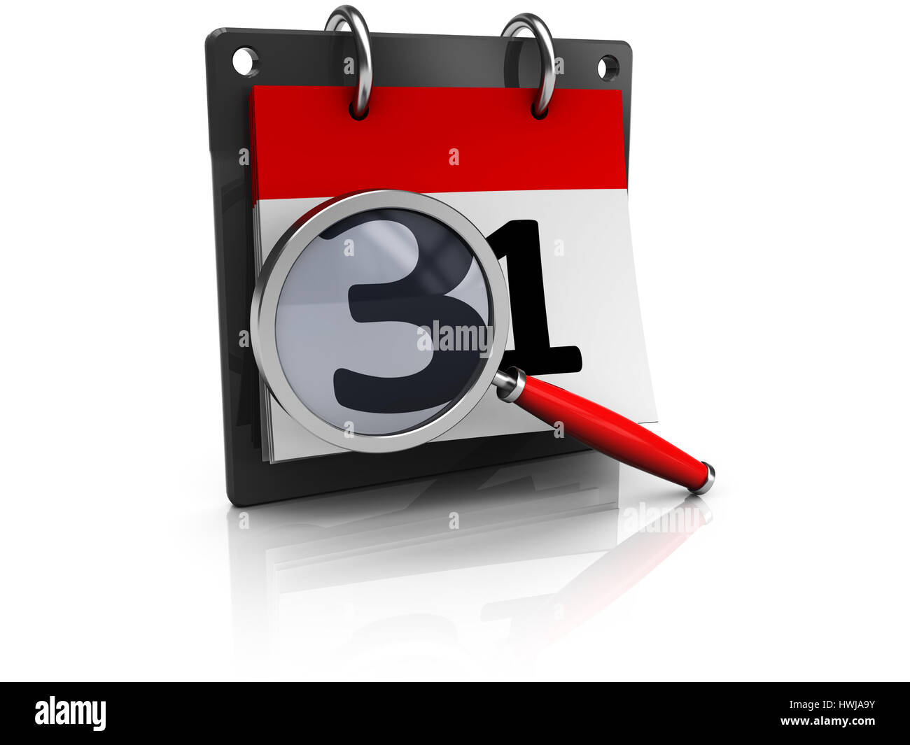 abstract 3d illustration of calendar and magnify glass - Stock Image
