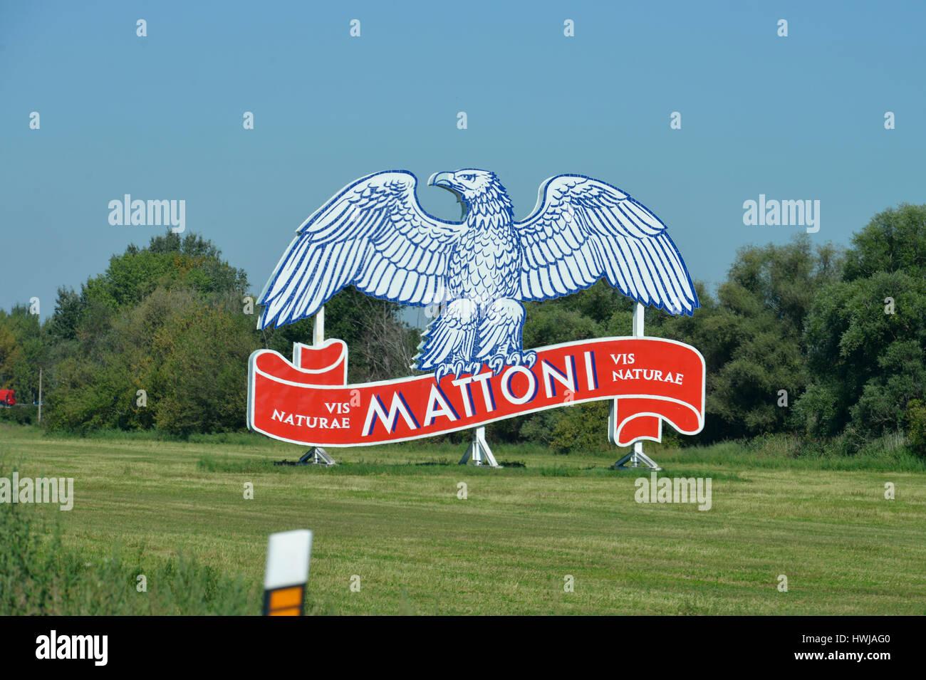 Werbung Mattoni Mineralwasser, Tschechien - Stock Image