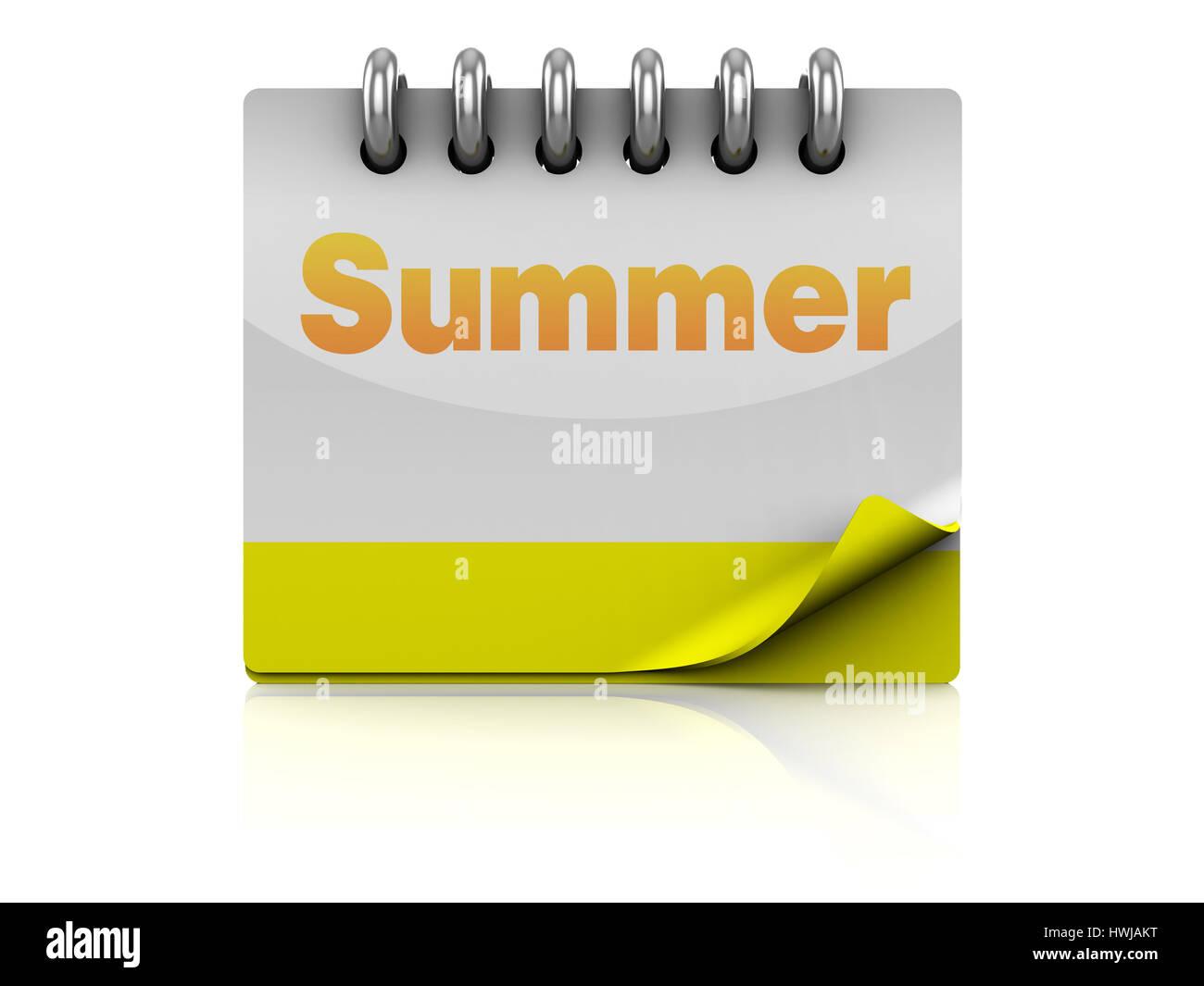 3d illustration of summer calendar page - Stock Image