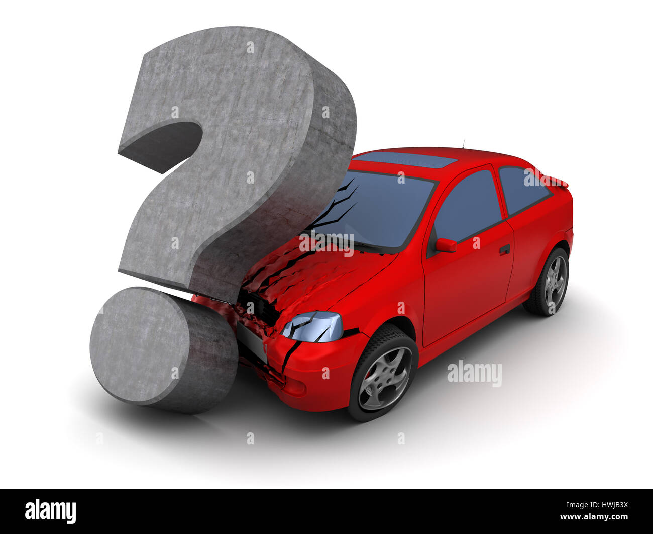 3d Illustration Of Car Collision With Question Mark, Over
