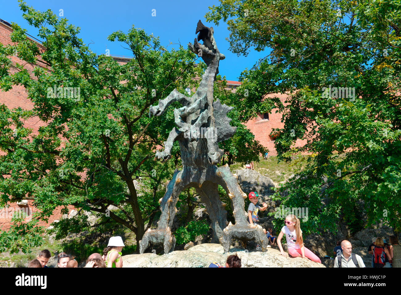 Wawelberg, Drache, Krakau, Polen Stock Photo