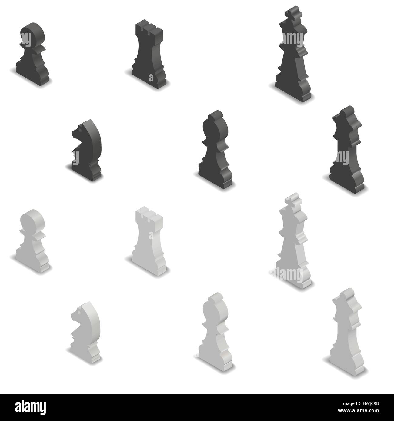Superb Photo Realistic Black And White Chess Pieces. 3D Isometric Style, Vector  Illustration.