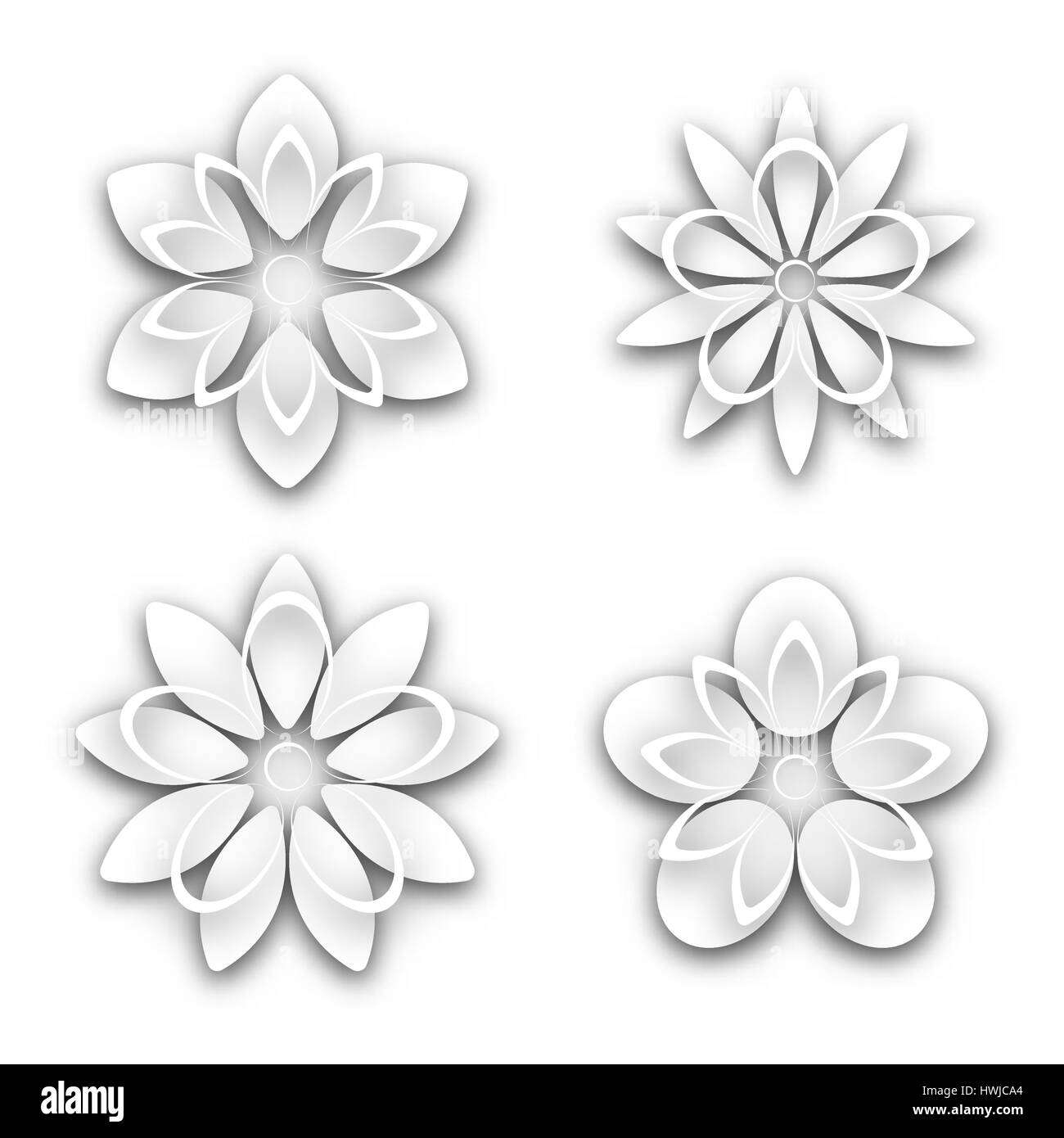 Set Of White Paper Flower Buds Different Shapes Isolated On White