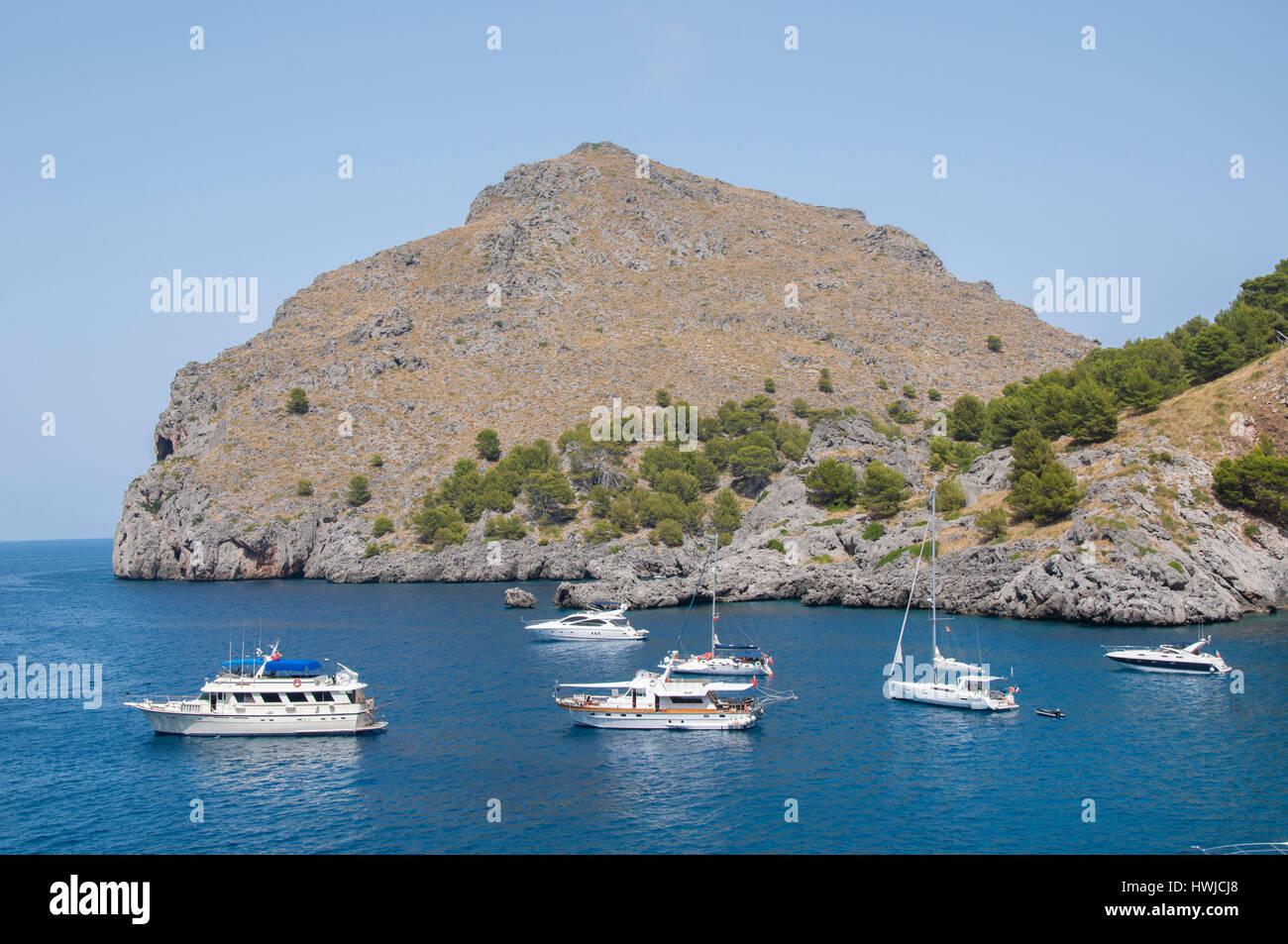 Bay of Sa Calobra, Torrent de Pareis, Escorca, Sa Calobra, Serra de Tramuntana, Balearic Islands, Mallorca, Mediterranean - Stock Image