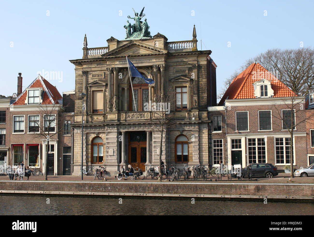 18th century Teyler's Museum  art, natural history, and science museum in Haarlem, Netherlands at Spaarne river - Stock Image