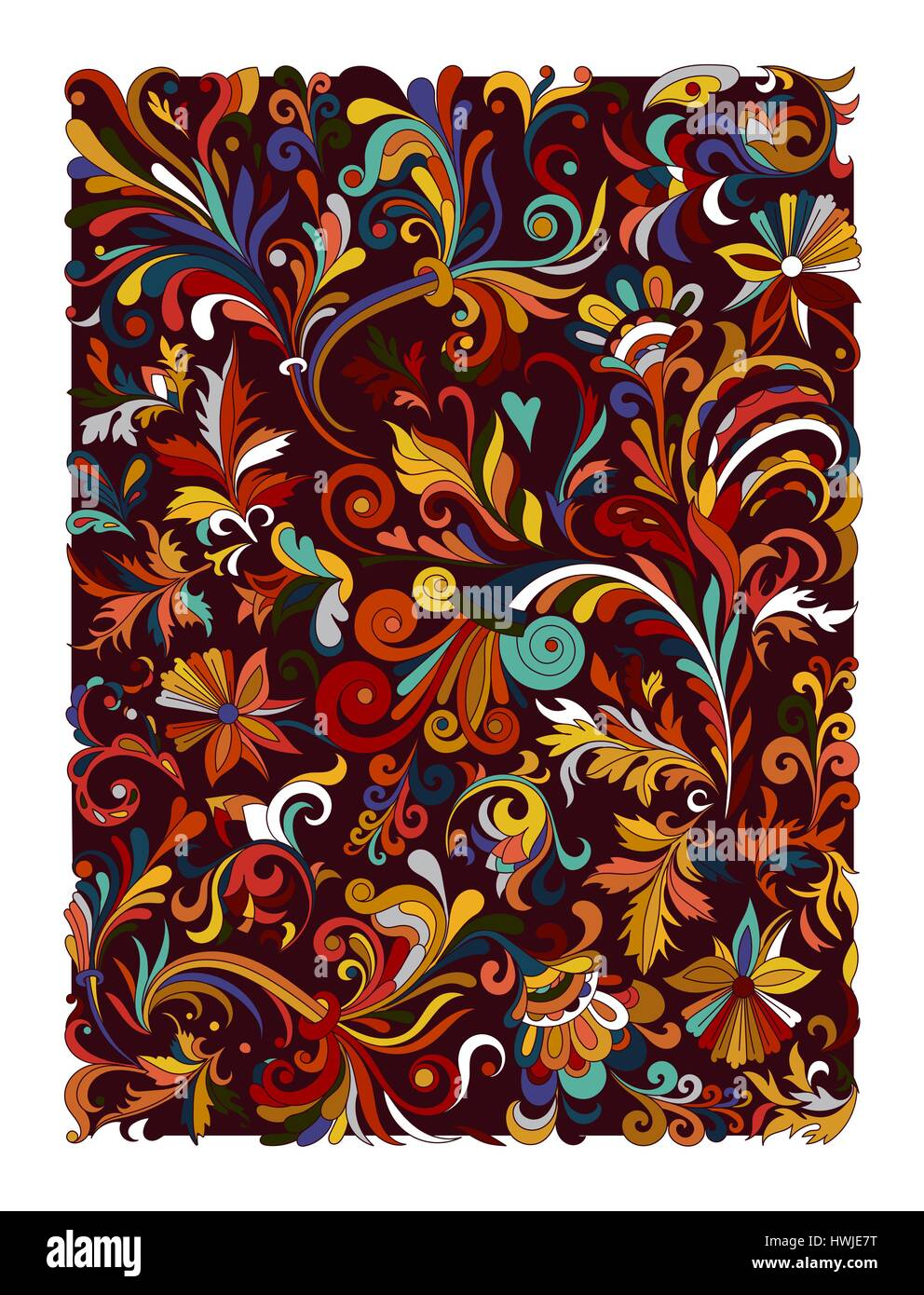 312d70be Ethnic colored floral zentangle, doodle background pattern rectangle in  vector. Henna paisley mehndi doodles design. Good for cover design. Hot  easter