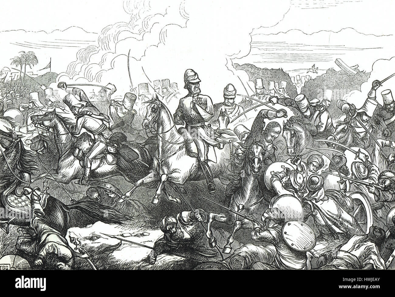 Sir Joseph Thackwell at the Battle of Sobraon 1846 in the First Anglo-Sikh War - Stock Image