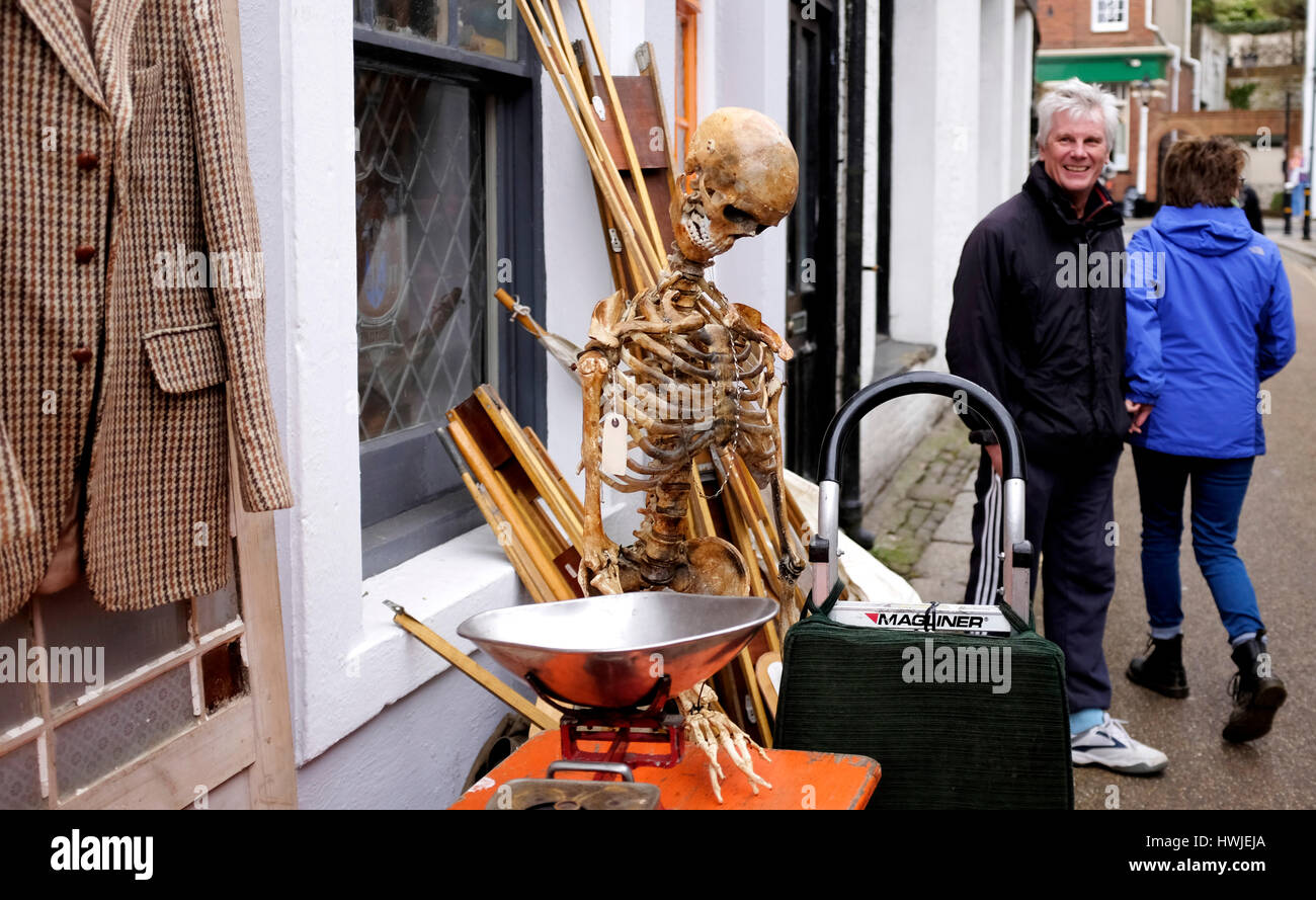 A skeleton for sale at an antiques shop in Hastings Old Town East Sussex UK  18 March 2017 - Stock Image