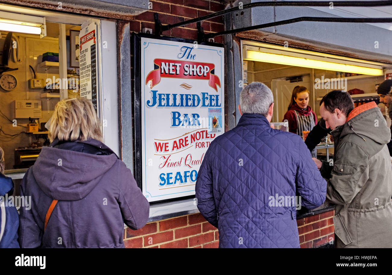 The Net Shop Jellied Eel Bar and stall at Hastings Old Town East Sussex UK - Stock Image