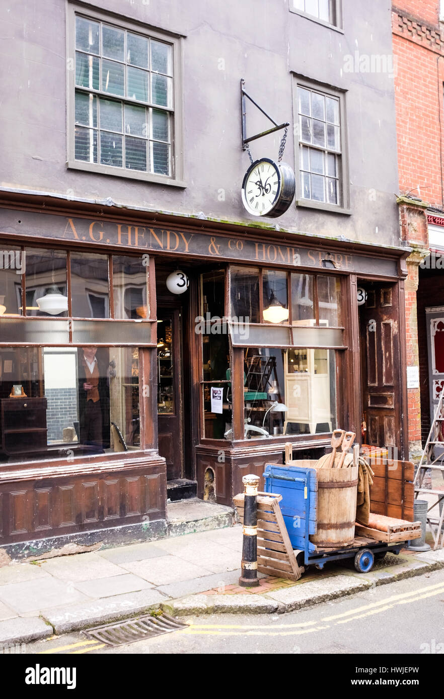 Hendy antique shop Hastings Old Town East Sussex UK - Stock Image