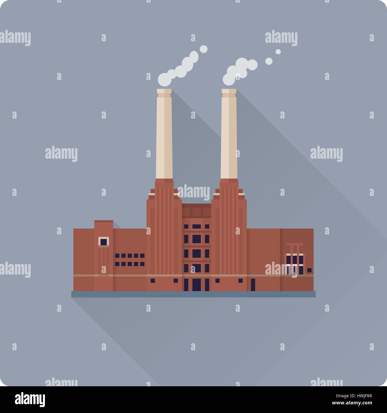 flat design long shadow coal power plant building vector illustration - Stock Vector