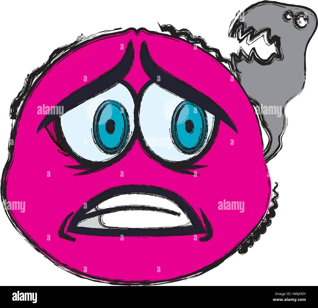 Scared cartoon face - Stock Vector