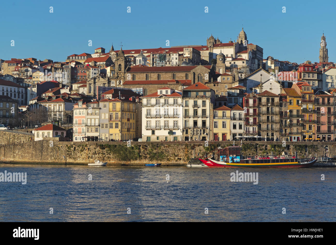 View of Porto city near Douro river during late afternoon in Portugal - Stock Image