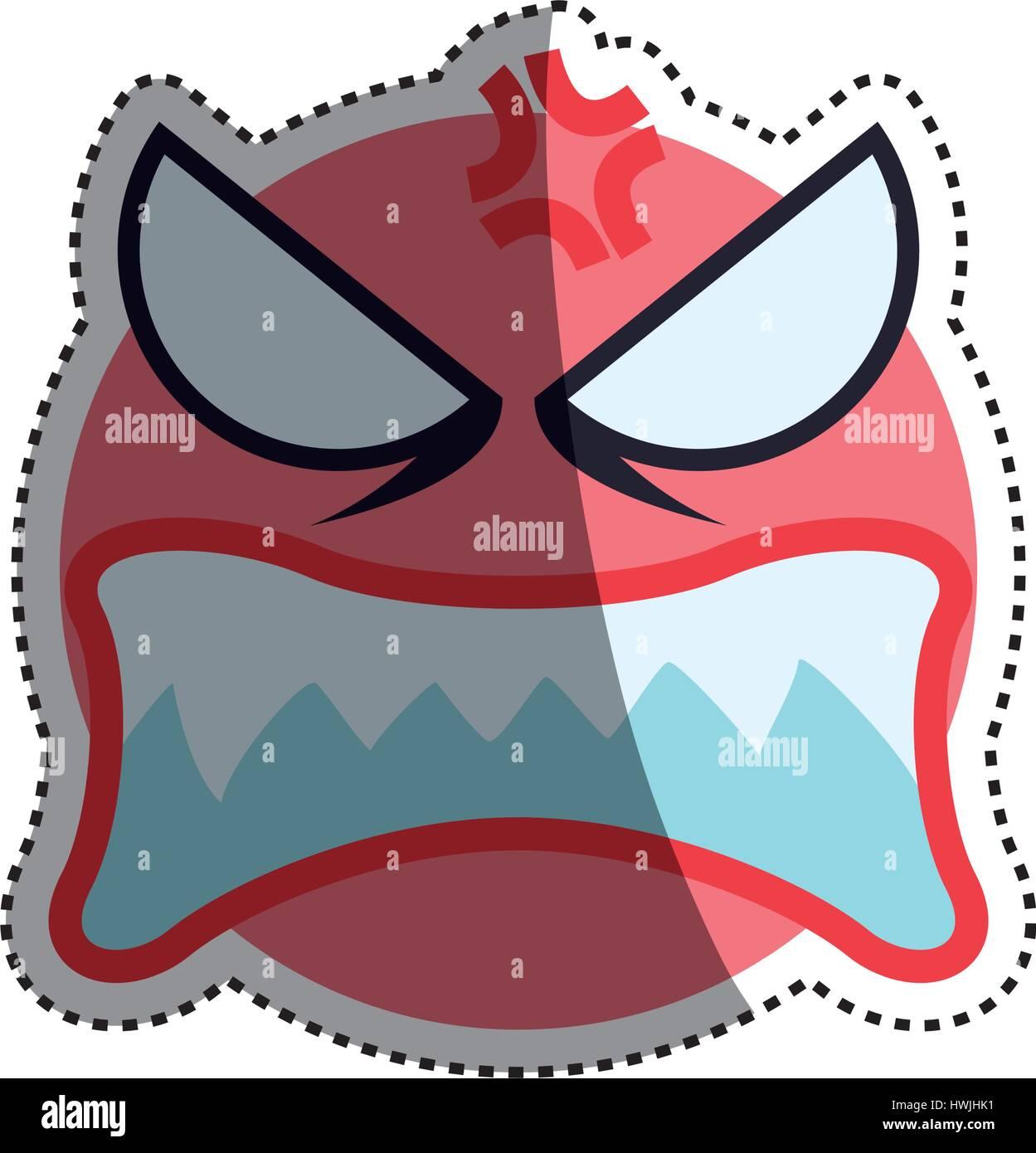Angry cartoon face - Stock Vector