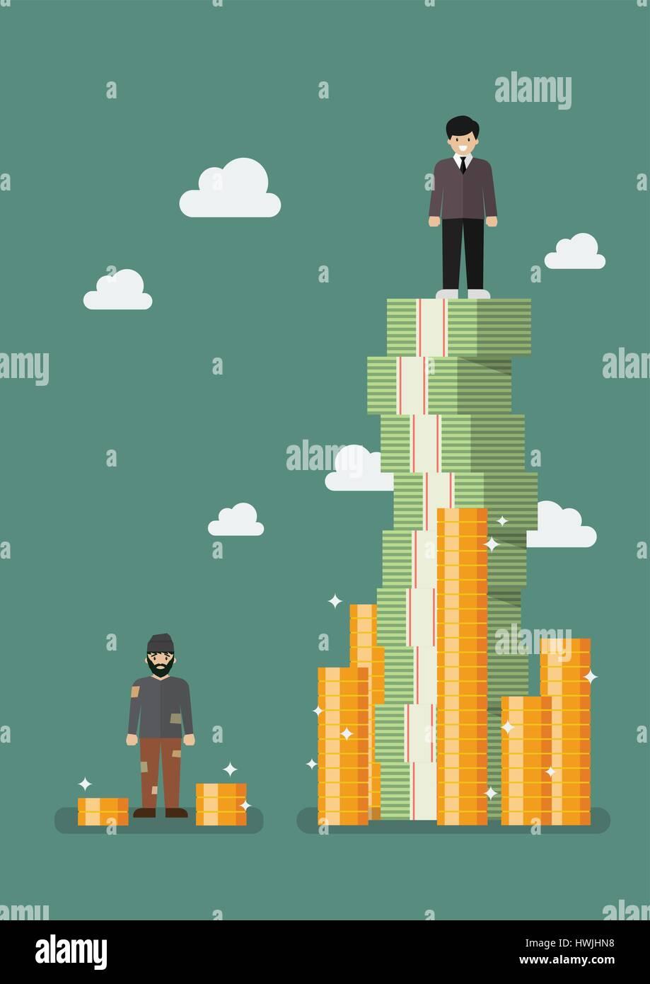 Gap between rich and poor Vector illustration Stock