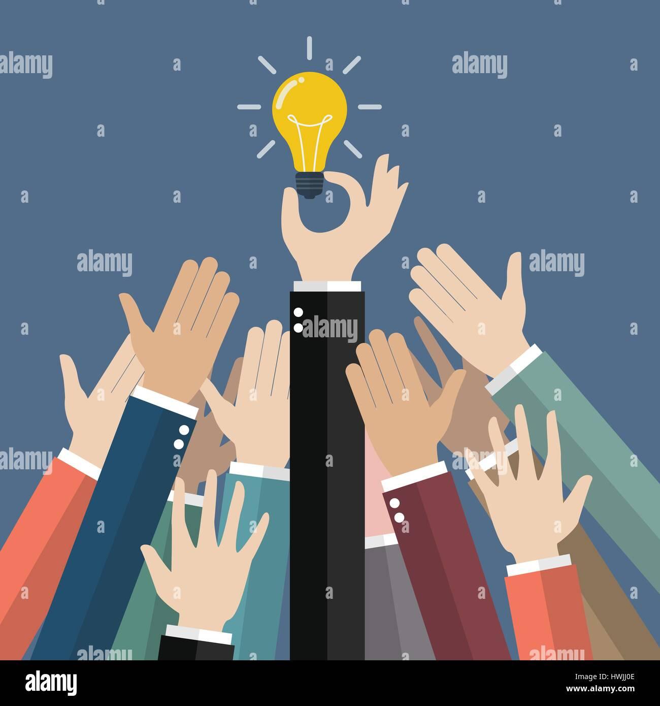 Fighting for an idea. Vector illustration creative concept - Stock Vector